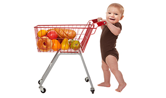 Baby pushing Shopping Cart