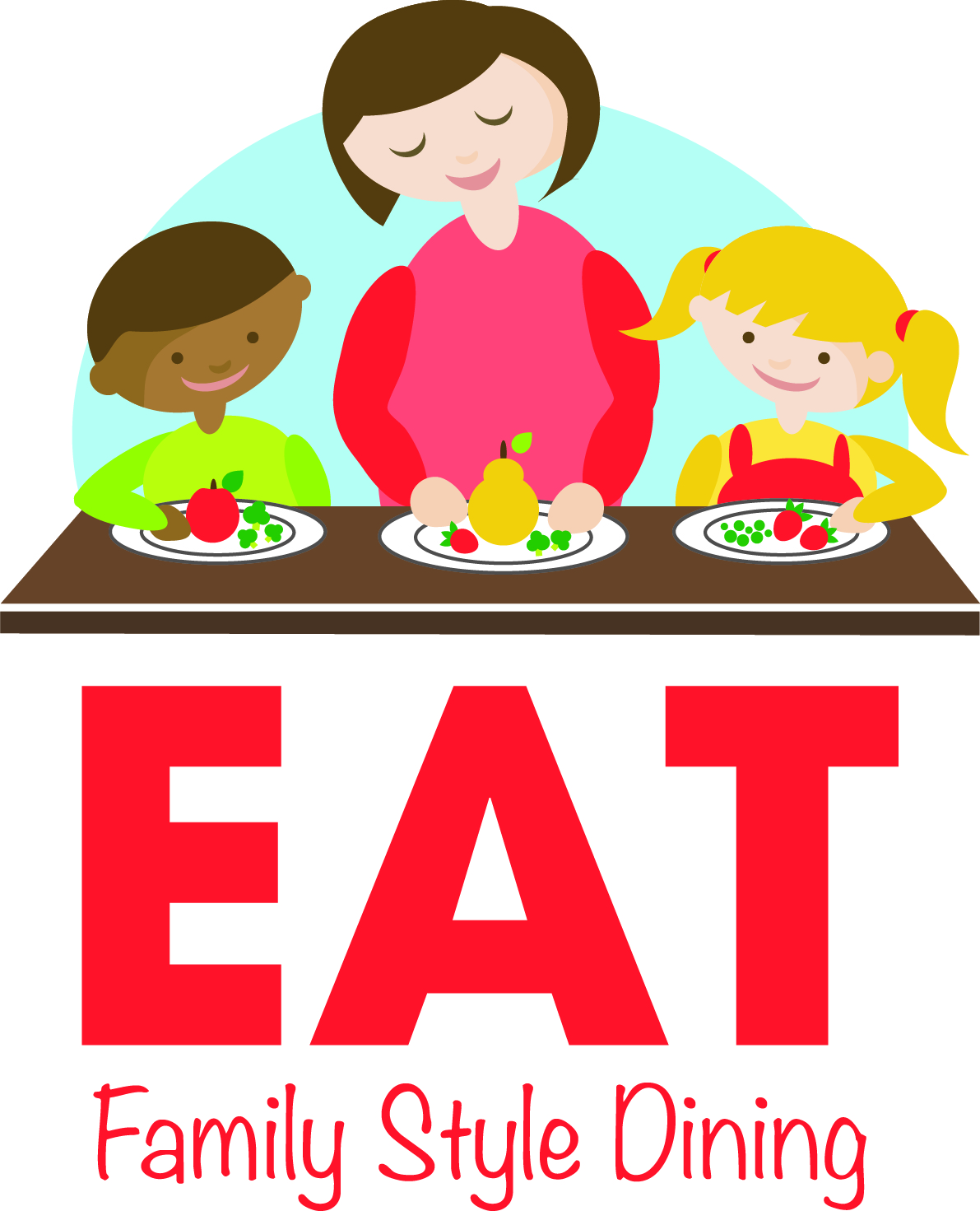 logo for EAT lessons with mom stirring salad with 2 children